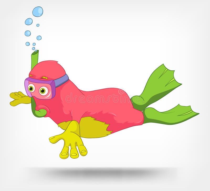 Monstro engraçado. Mergulhador. ilustração royalty free