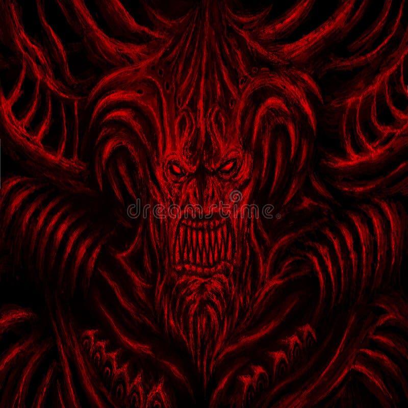 Monstro enorme com chifres Cor vermelha do fundo imagens de stock