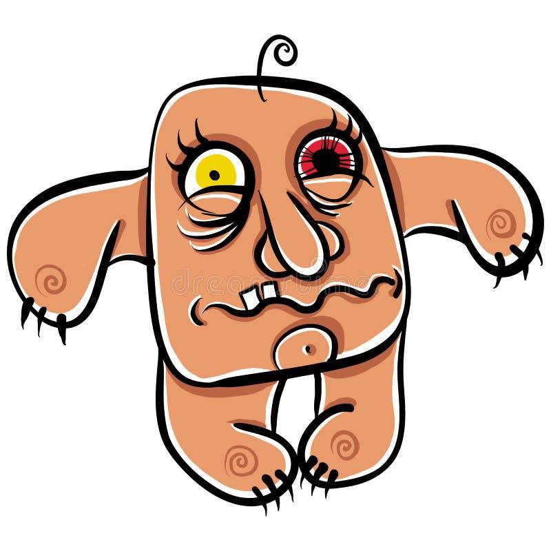 Monstro estranho dos desenhos animados, retrato louco absoluto do numskull, bem, t ilustração stock