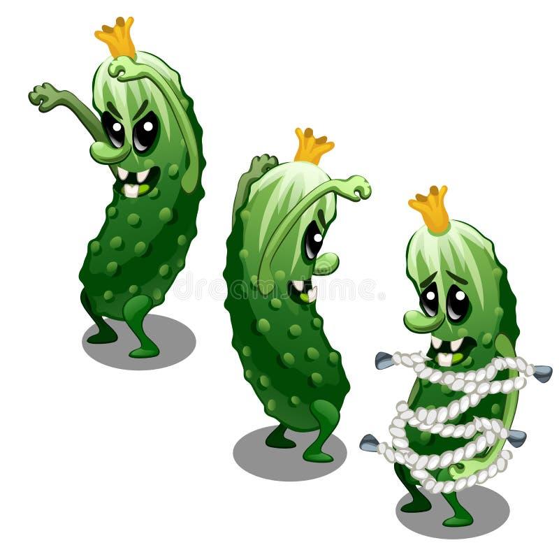 Monstro extravagante prendido sob a forma de um pepino verde toothy assustador isolado em um fundo branco Ilustração do vetor ilustração do vetor
