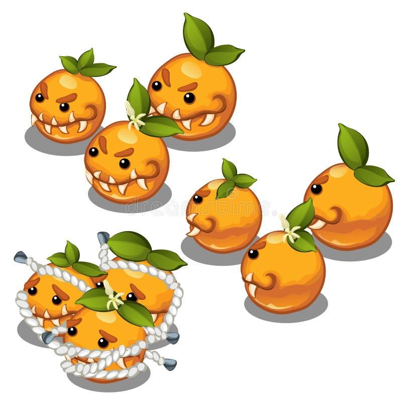 Monstro extravagantes prendidos sob a forma do laranjas toothy assustadores isoladas em um fundo branco Ilustração do vetor ilustração do vetor
