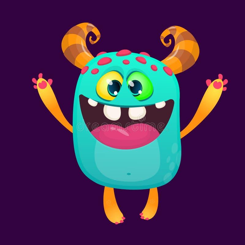 Monstro feliz dos desenhos animados excitado O caráter do monstro do vetor isolou-se ilustração do vetor