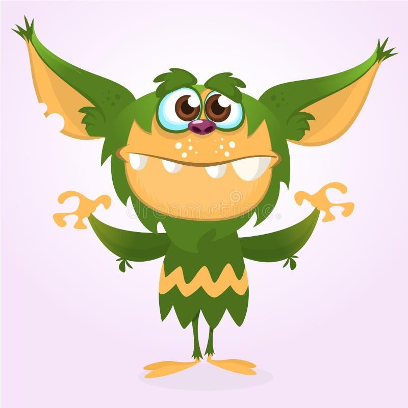 Monstro feliz dos desenhos animados Monstro peludo verde de Dia das Bruxas Coleção grande de monstro bonitos Caráter de Dia das B ilustração royalty free