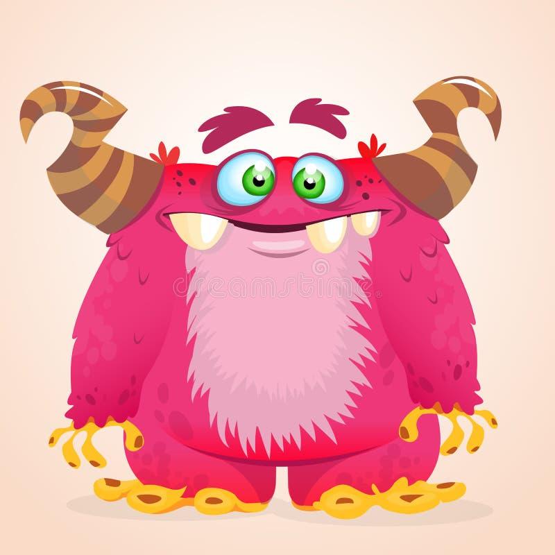 Monstro feliz dos desenhos animados Sorriso horned do monstro do vetor de Dia das Bruxas ilustração stock