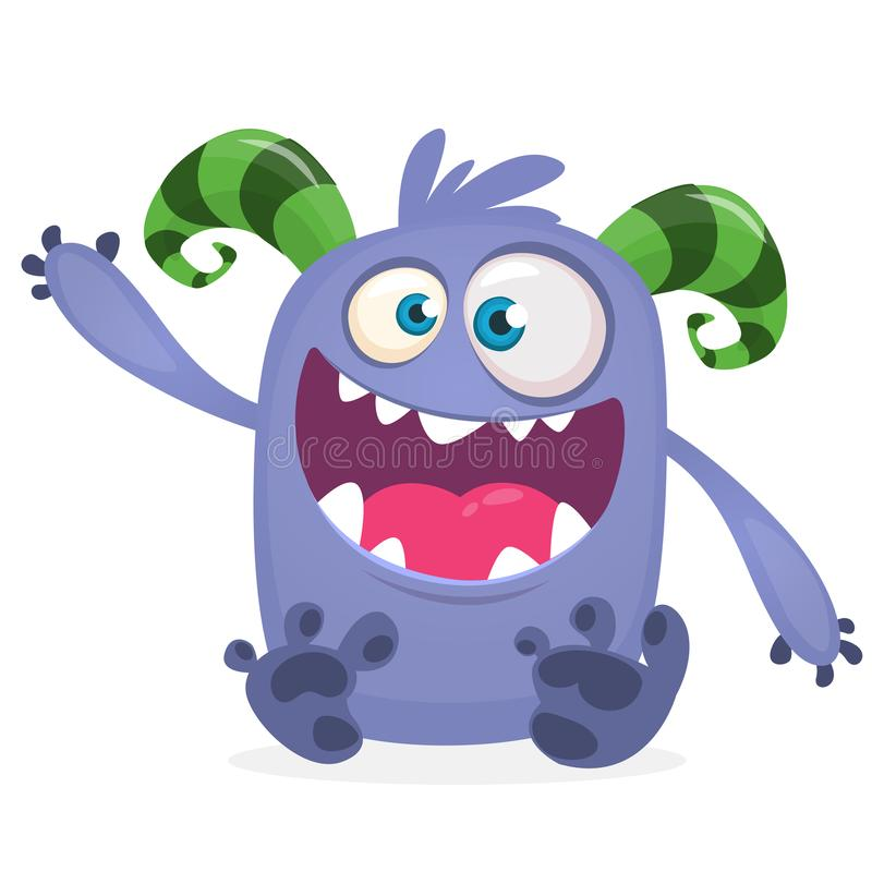 Monstro fresco feliz da gordura dos desenhos animados Caráter azul e horned do monstro do vetor ilustração do vetor