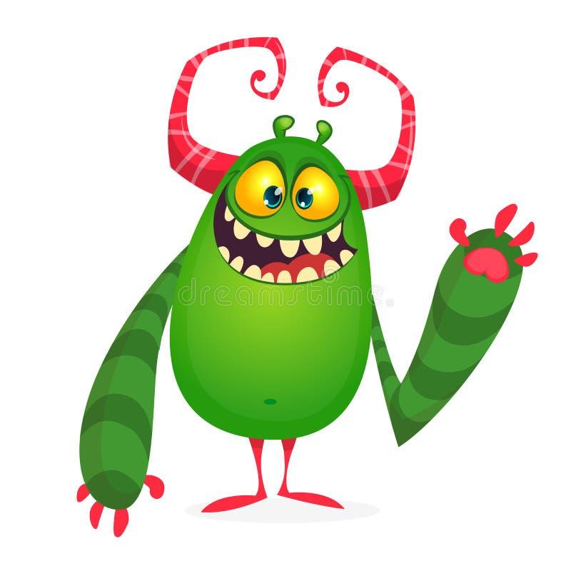 Monstro fresco feliz da gordura dos desenhos animados Caráter Horned do monstro do vetor ilustração royalty free