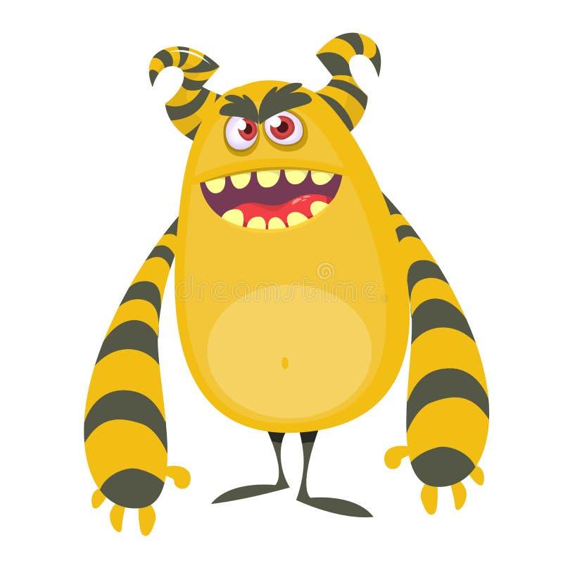 Monstro fresco irritado da gordura dos desenhos animados Caráter alaranjado e horned do monstro do vetor ilustração do vetor