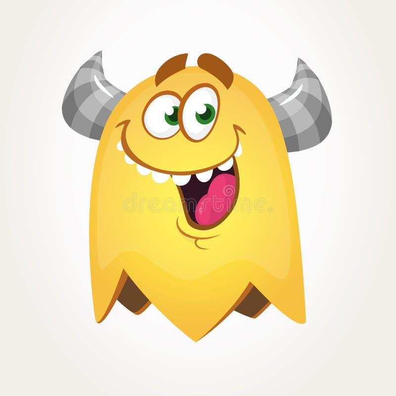 Monstro gordo do voo dos desenhos animados frescos felizes com olhos grandes Caráter alaranjado e horned do monstro do vetor ilustração stock