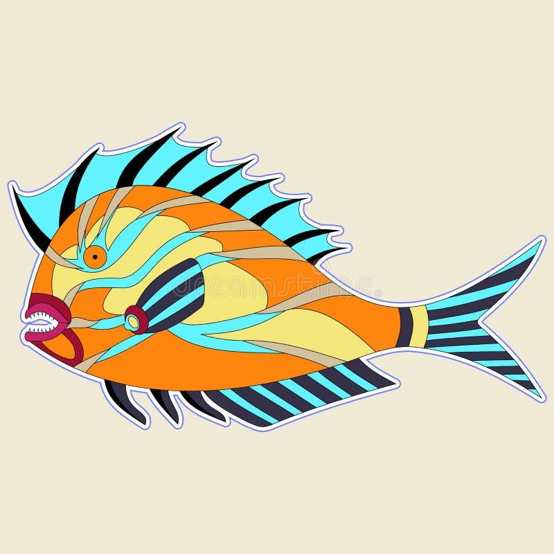Monstro grosso dos peixes com as aletas espinhosos em tons alaranjados ilustração stock