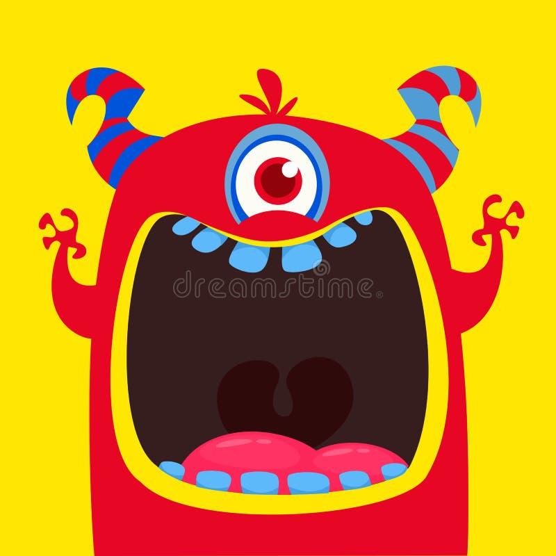 Monstro horned eyed dos desenhos animados do vermelho o engraçado Monstro engraçado com a boca aberta largamente Ilustração do ve ilustração stock