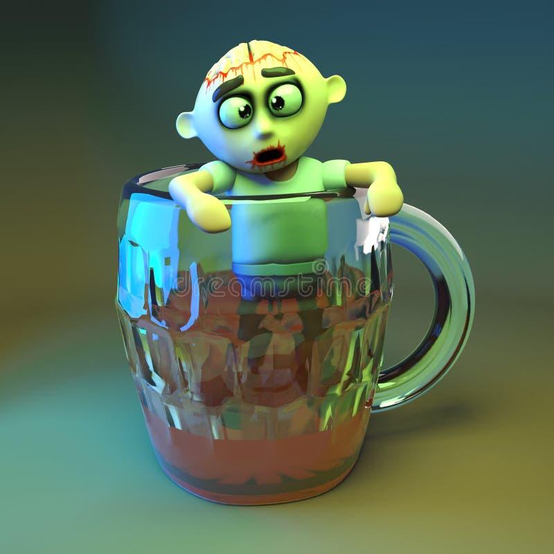 Monstro Hungover do zombi que escala fora de uma pinta gigante da cerveja, ilustração 3d ilustração royalty free