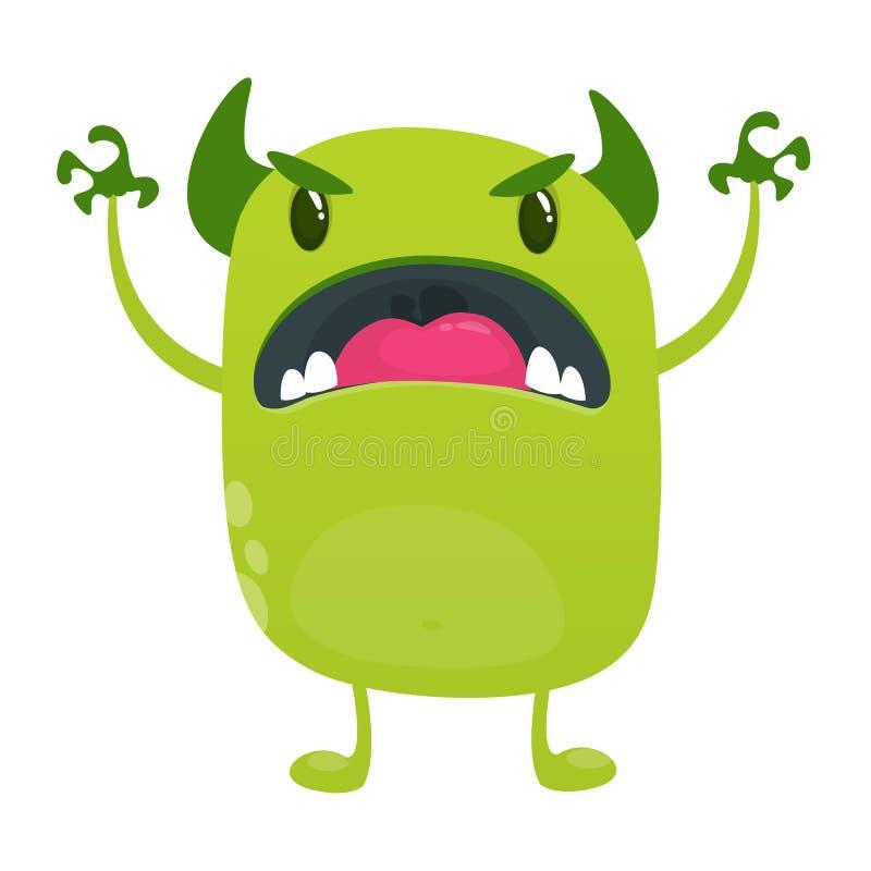 Monstro irritado do estrangeiro do verde dos desenhos animados Coleção grande de monstro bonitos para Dia das Bruxas Ilustração d ilustração royalty free