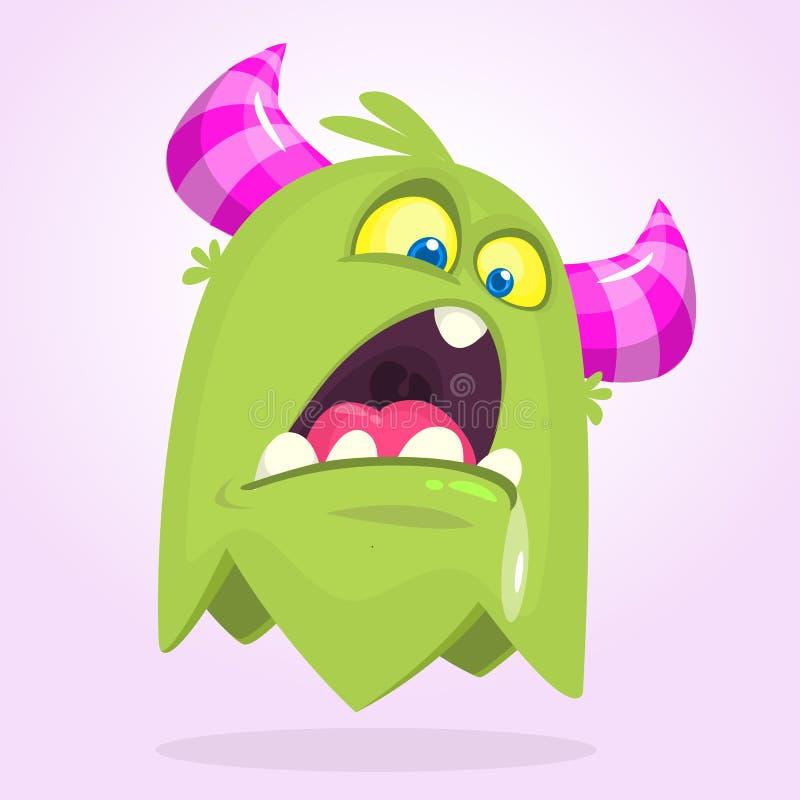 Monstro irritado pequeno bonito dos desenhos animados Emoção verde do monstro Ilustração do vetor de Halloween ilustração royalty free