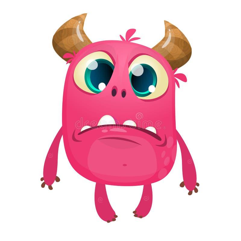 Monstro mal-humorado horned cor-de-rosa dos desenhos animados Ilustração do vetor do caráter triste bonito do monstro ilustração stock