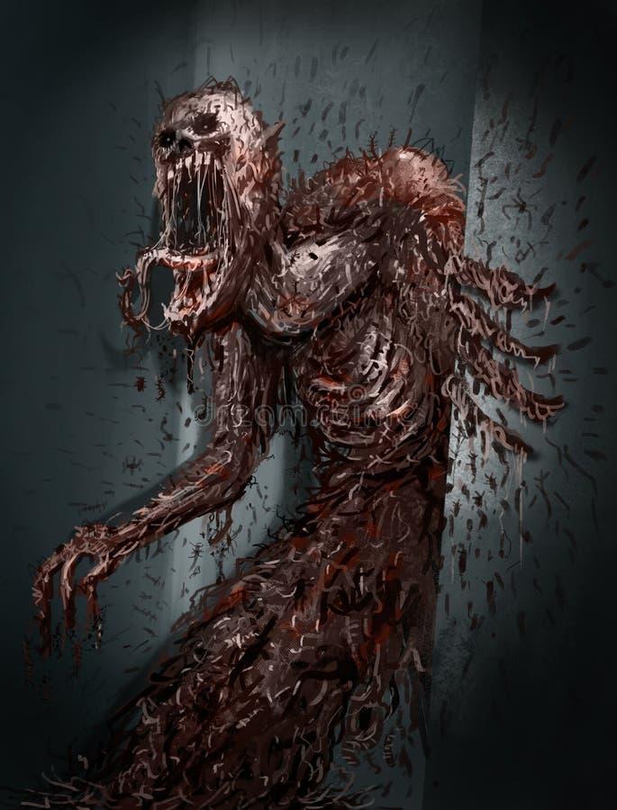 Monstro mau hor?vel, arte do conceito para o filme de terror, arte finala de Digitas CG do jogo de v?deo ilustração royalty free