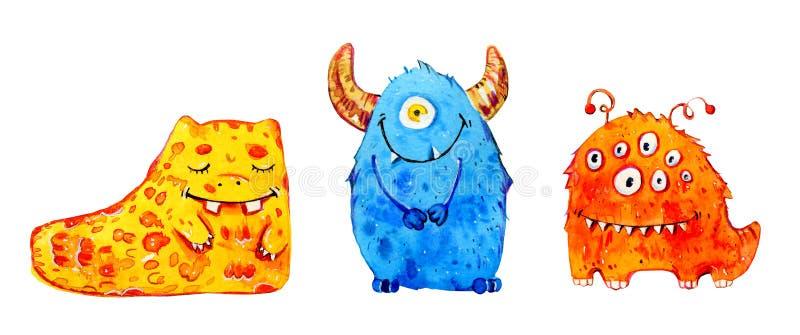 Monstro pequenos dos desenhos animados Grupo de ilustração tirada mão da aquarela ilustração royalty free