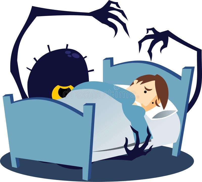 Monstro sob a cama ilustração royalty free