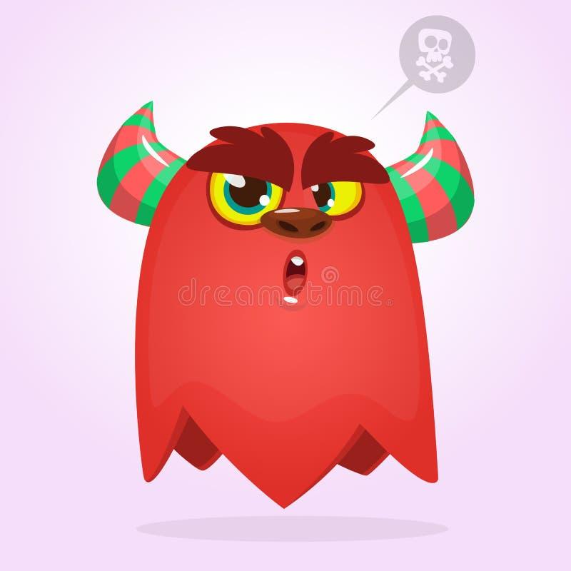Monstro surpreendido assustador dos desenhos animados Monstro do vermelho de Dia das Bruxas do vetor Grupo grande de monstro dos  ilustração do vetor