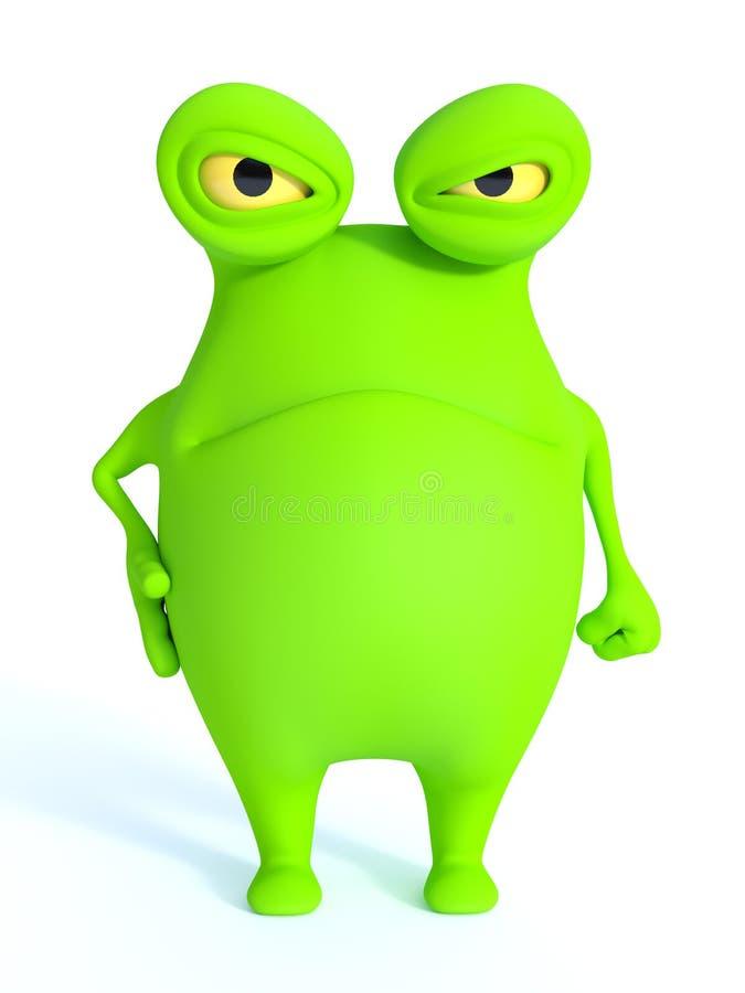 Monstro verde bonito que olha muito irritado ilustração royalty free