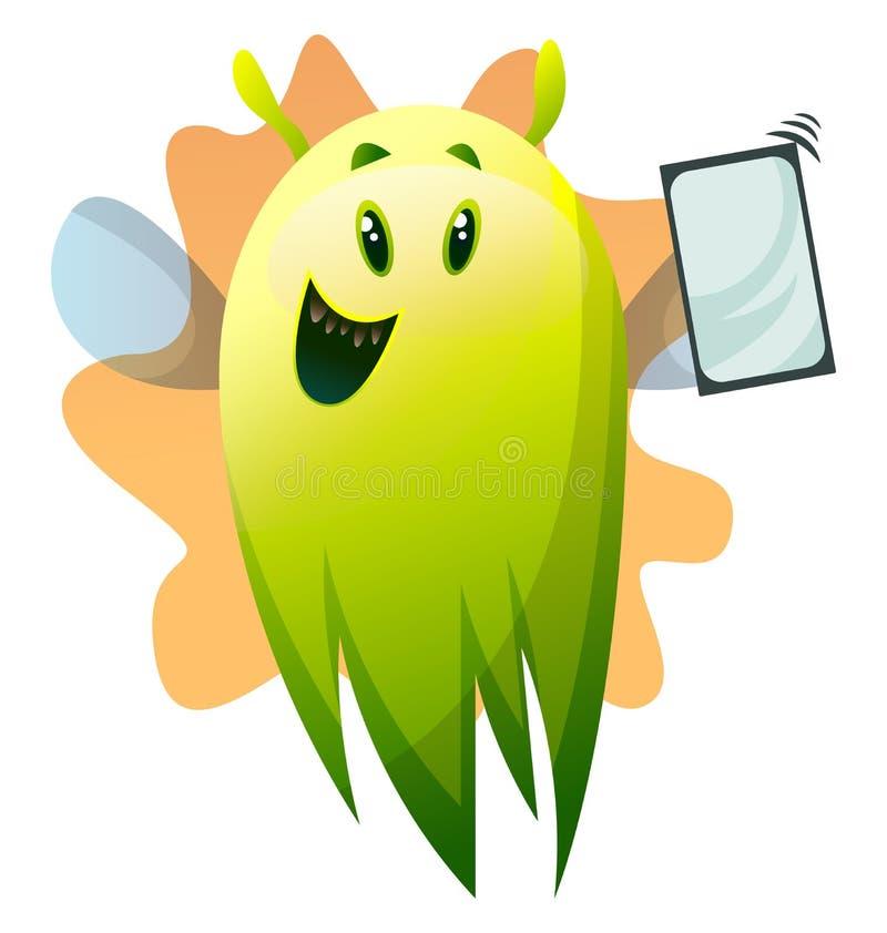 Monstro verde de desenho animado sorridente com ilusão de vetor de telefone ilustração do vetor