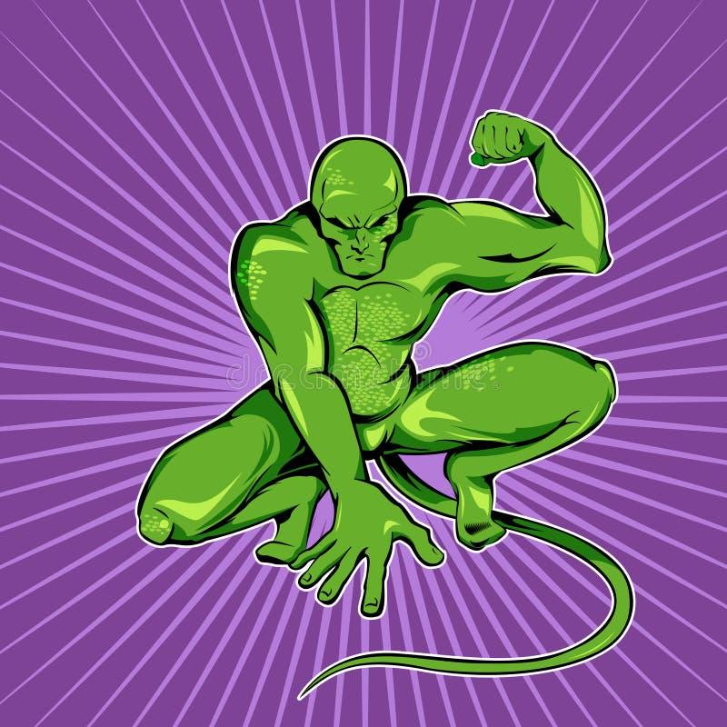Monstro verde do super-herói ilustração stock