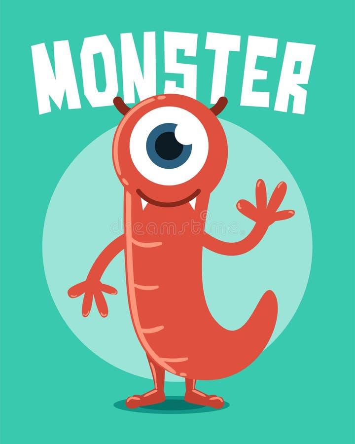 Monstro vermelho com um olho ilustração do vetor