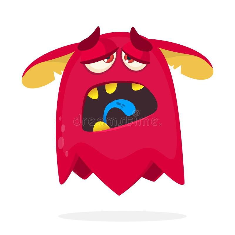 Monstro vermelho dos desenhos animados cansado Vector a ilustração de Dia das Bruxas de um monstro horned vermelho com língua lon ilustração stock