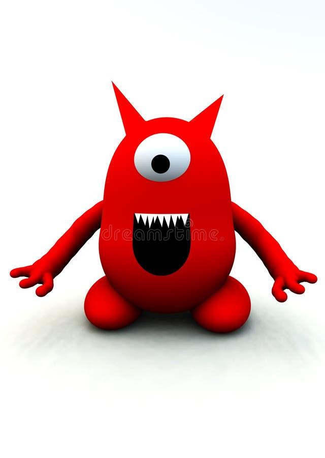 Monstro vermelho minúsculo ilustração royalty free