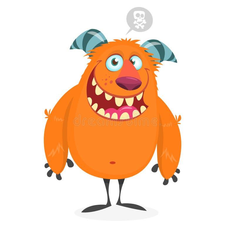 Monstruo anaranjado gordo divertido para el día de fiesta de Halloween libre illustration