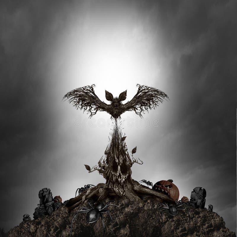 Monstruo asustadizo del árbol ilustración del vector