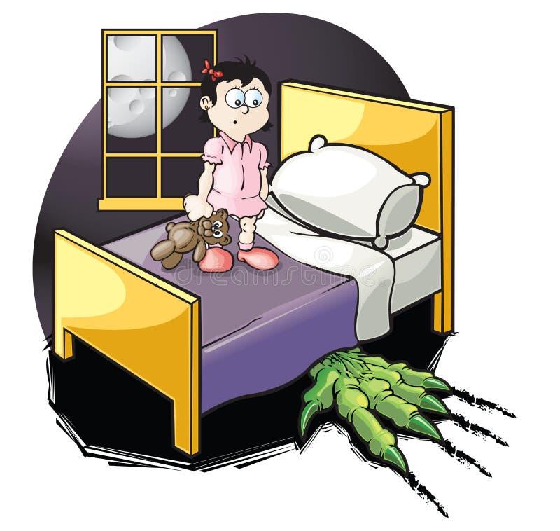 Monstruo bajo cama stock de ilustración