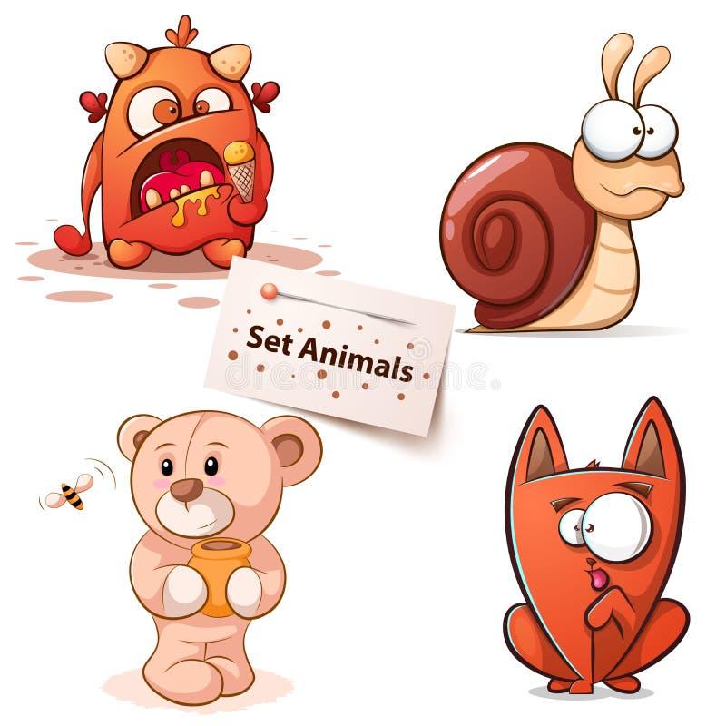 Monstruo, caracol, oso, gato - personajes de dibujos animados ilustración del vector