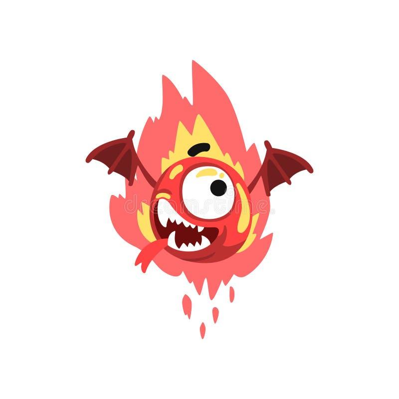 Monstruo con alas fuego divertido, ejemplo fabuloso colorido del vector del personaje de dibujos animados de la criatura ilustración del vector