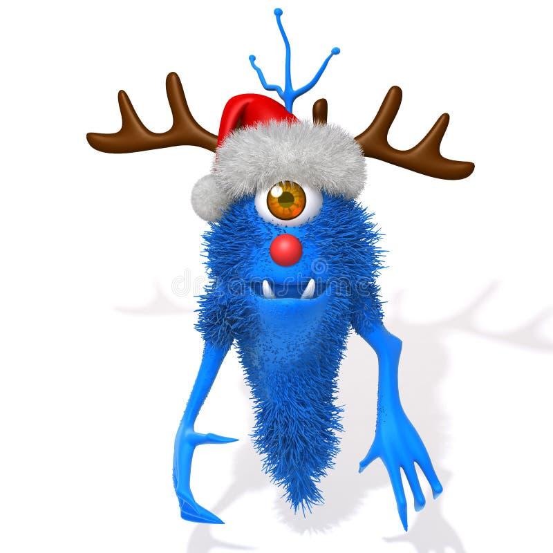 Monstruo con el ejemplo de las astas 3d del reno de la Navidad stock de ilustración