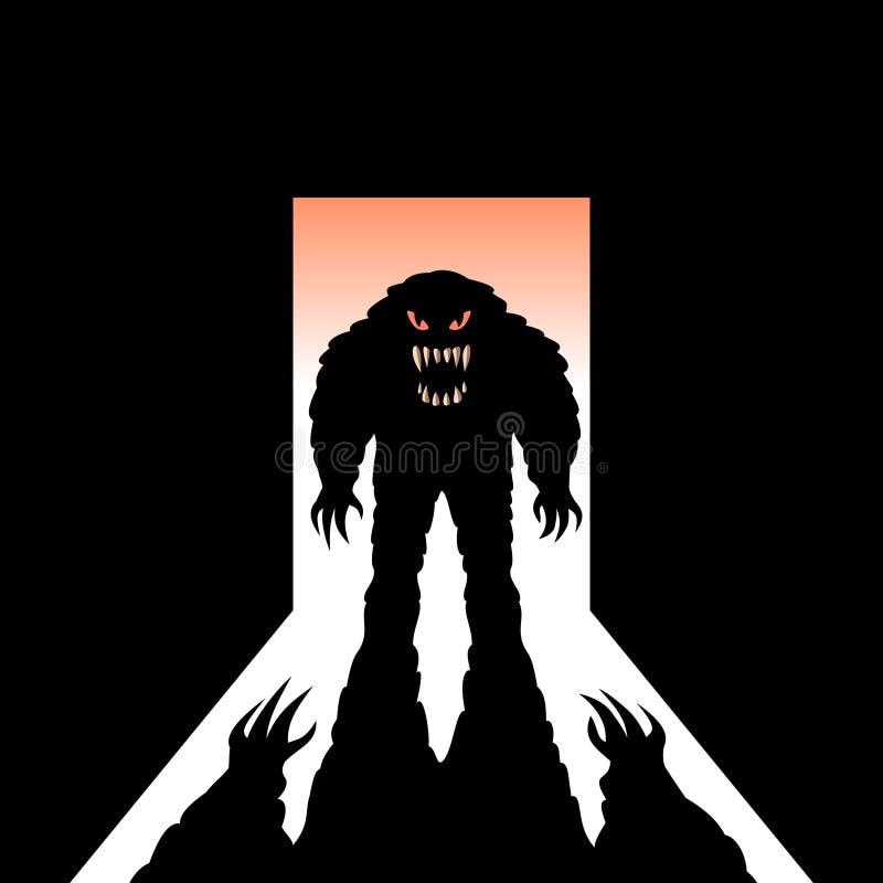 Monstruo con la sombra en la puerta abierta ilustración del vector