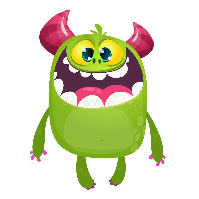 Monstruo contento feliz de la historieta Emoción satisfecha del monstruo Ilustración del vector de Víspera de Todos los Santos ilustración del vector