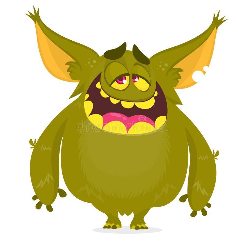 Monstruo contento feliz de la historieta Emoción satisfecha del monstruo Ilustración del vector de Víspera de Todos los Santos libre illustration