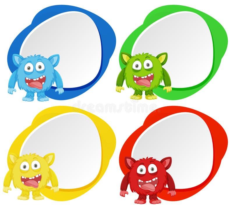 Monstruo cuatro en bandera del color stock de ilustración