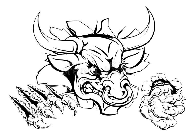 Monstruo de Bull que rompe a través de la pared ilustración del vector