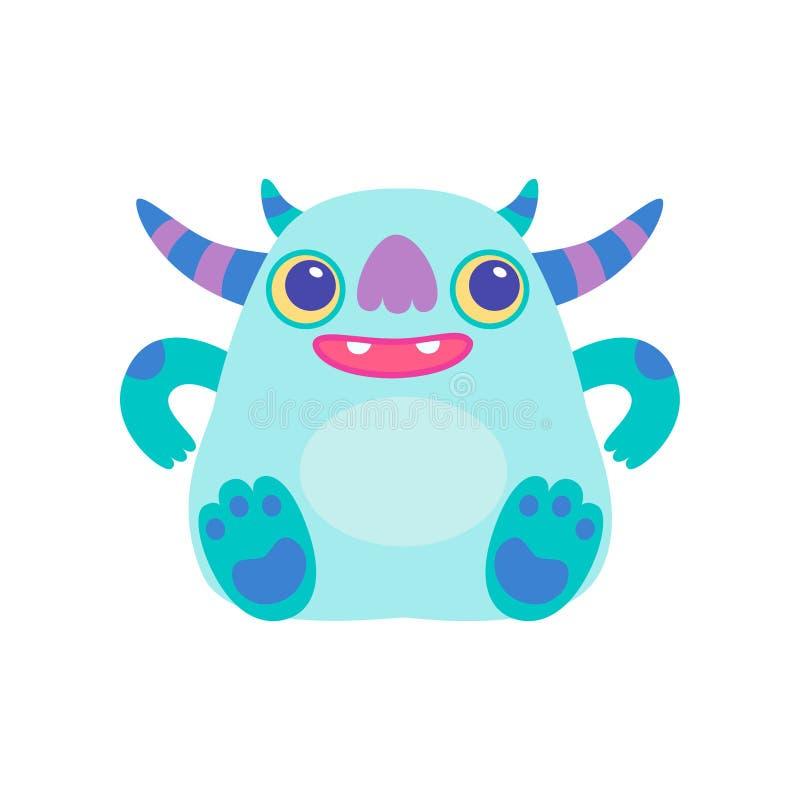 Monstruo de cuernos amistoso lindo, ejemplo fantástico del vector de la criatura del personaje de dibujos animados extranjero di ilustración del vector