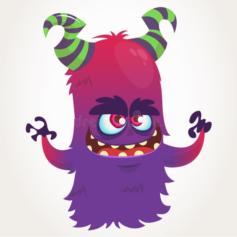 Monstruo de cuernos púrpura de la historieta linda Mascota del monstruo del vuelo del vector de Halloween stock de ilustración