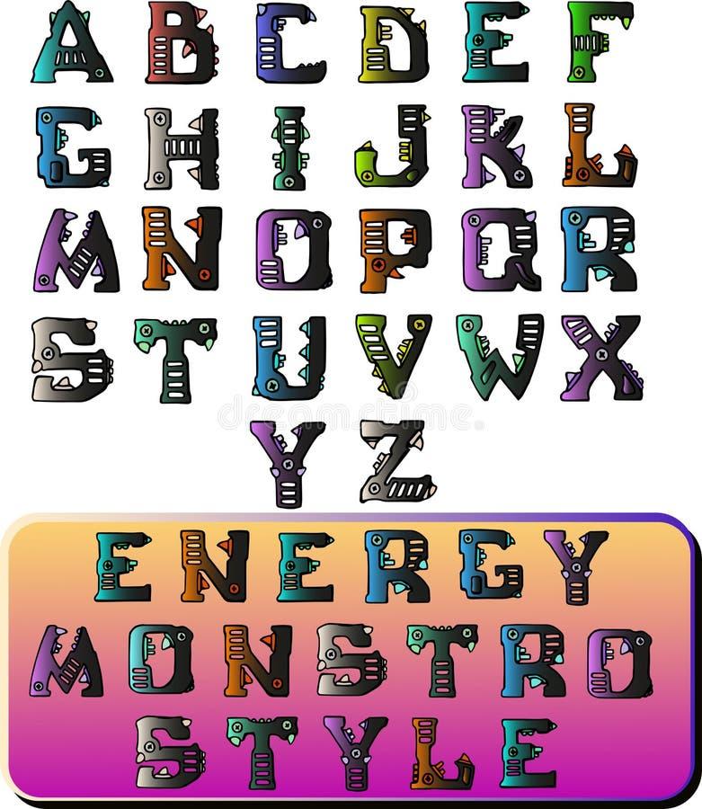 Monstruo de la energ?a del estilo de fuente stock de ilustración
