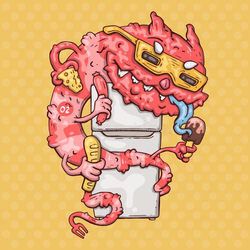 Monstruo de la historieta con un refrigerador ilustración del vector