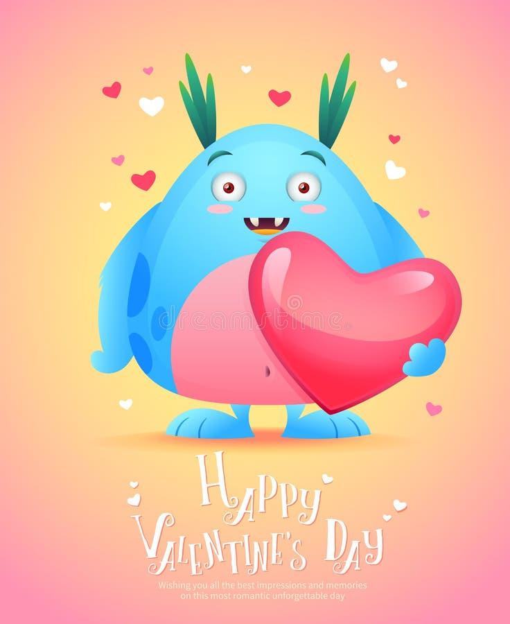 Monstruo de la historieta con una tarjeta de la tarjeta del día de San Valentín del corazón ilustración del vector