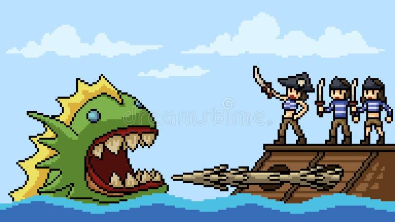 Monstruo de la lucha del pirata del arte del pixel del vector stock de ilustración