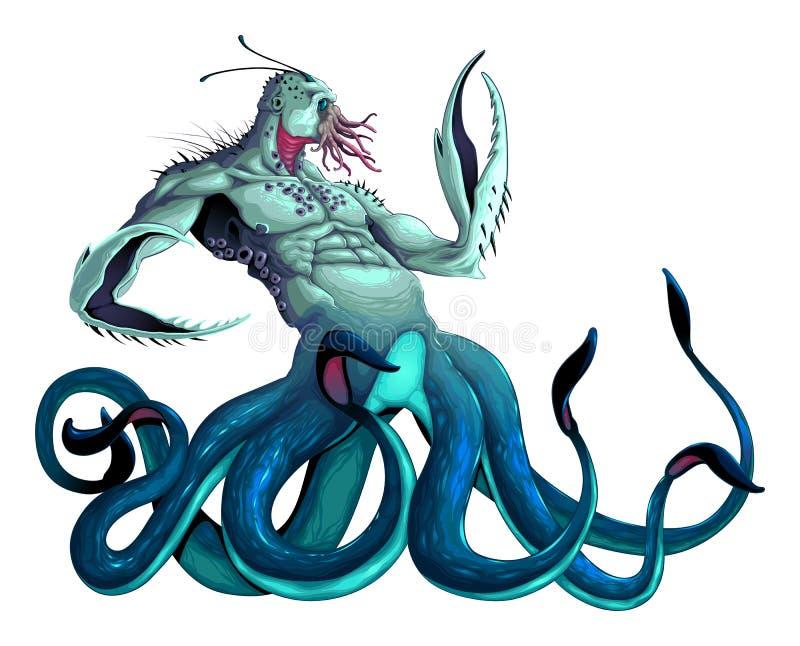 Monstruo de mar con tentáculos y garras stock de ilustración