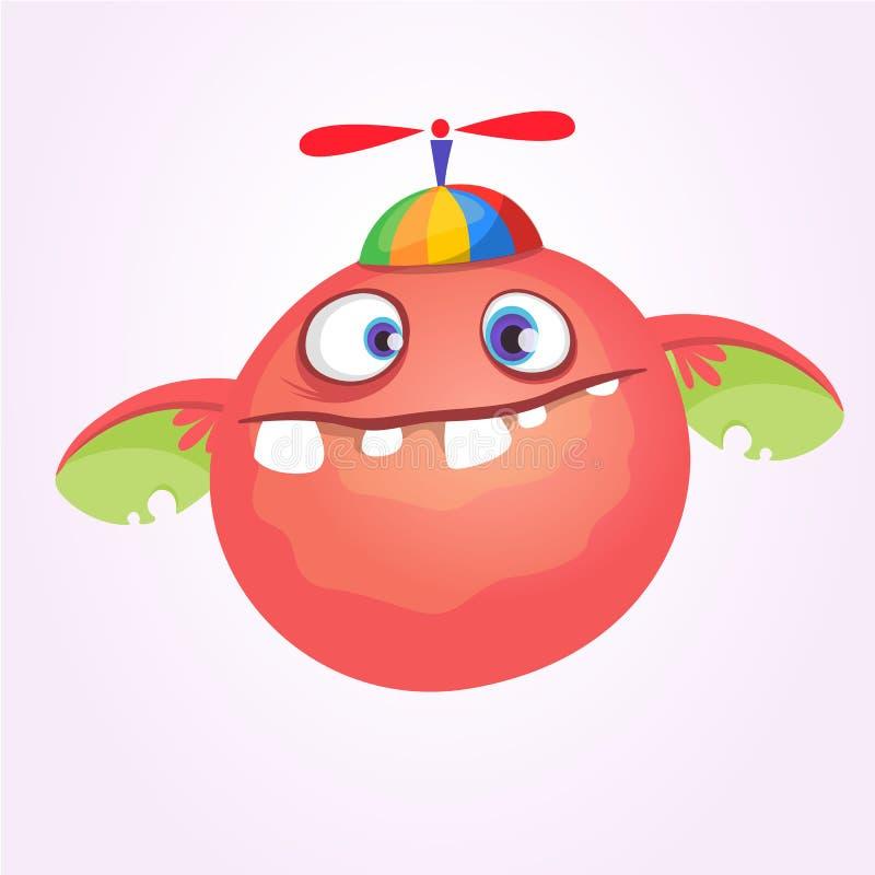 Monstruo del bebé de la historieta en el sombrero de los niños divertidos con el propulsor Ilustración del vector ilustración del vector