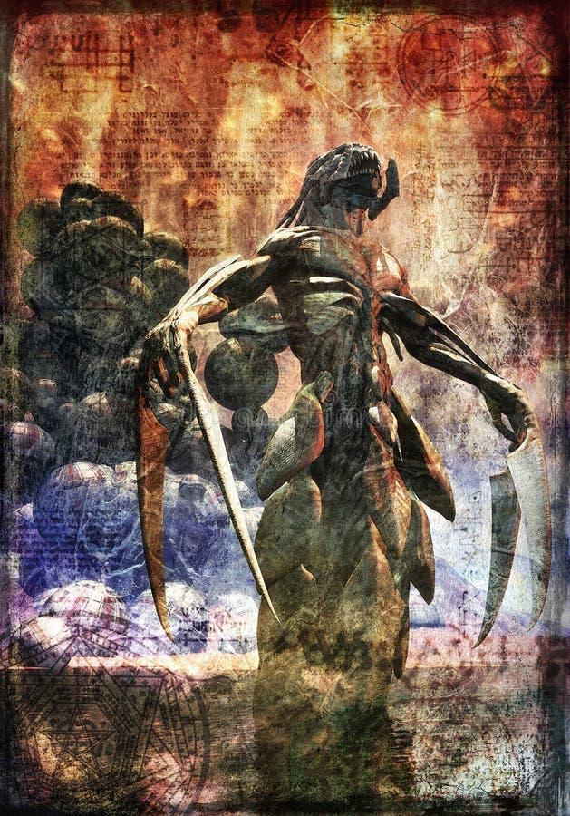 Monstruo del demonio pintado stock de ilustración