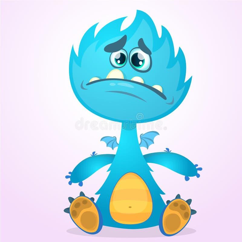 Monstruo del dragón de la historieta del vector con las alas minúsculas Carácter azul del dragón que agita sus manos Ejemplo azul stock de ilustración