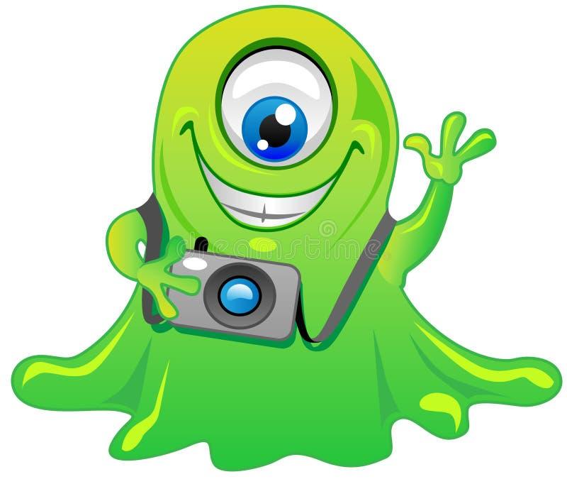 monstruo del extranjero del limo del ojo del verde uno ilustración del vector